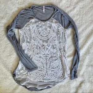 Lace Overlay Shirt